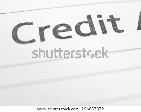 CREDIT close up on a printed form #156857879