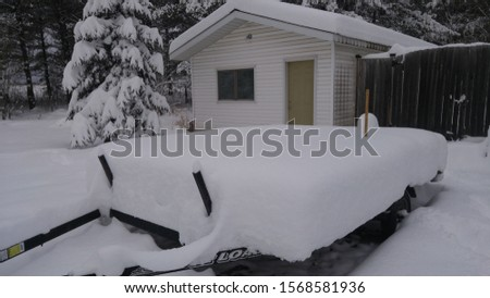 snow covered utility trailer and shed with evergreens #1568581936