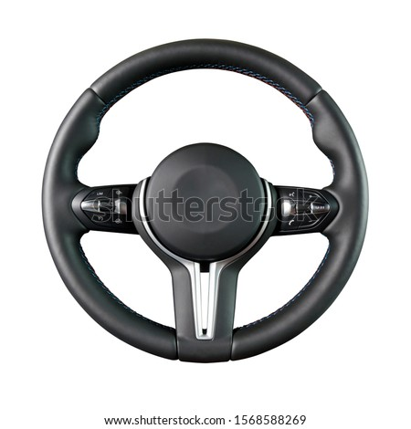 Steering wheel, isolated on the white background Royalty-Free Stock Photo #1568588269