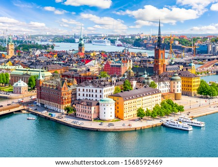 Stockholm old town (Gamla Stan) cityscape from City Hall top, Sweden #1568592469