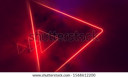 Red neon triangles in clouds.  #1568612200