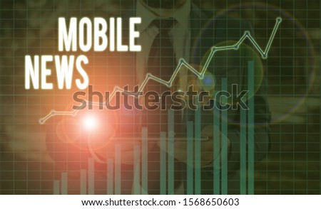 Handwriting text Mobile News. Concept meaning the delivery and creation of news using mobile devices. #1568650603