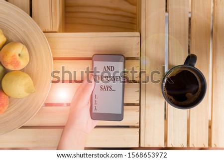 Conceptual hand writing showing And The Survey Says. Business photo showcasing doing poll and bring the results discuss with others woman with laptop smartphone and office supplies technology. #1568653972