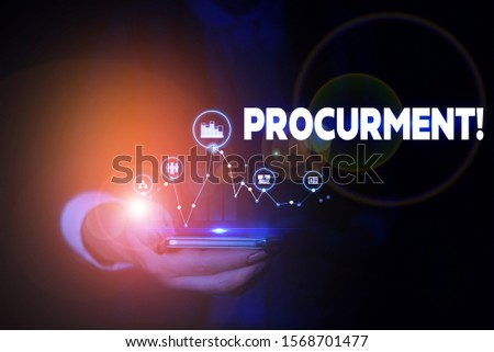 Handwriting text Procurment. Concept meaning action of acquiring military equipment and supplies Woman wear formal work suit presenting presentation using smart device. #1568701477