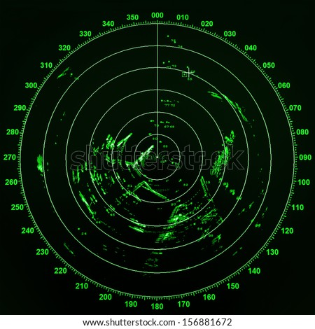 Modern ship radar screen with green round map on black background Royalty-Free Stock Photo #156881672