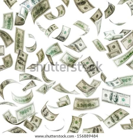 Falling money, hundred dollar bills #156889484