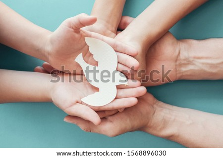 Adult and child hands holding white dove bird on blue background, international day of peace or world peace day concept, sustainable consumption, csr responsible business, animal rights, hope concept #1568896030