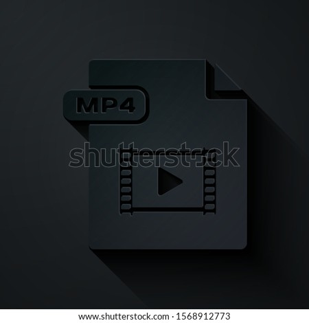 Paper cut MP4 file document. Download mp4 button icon isolated on black background. MP4 file symbol. Paper art style. Vector Illustration