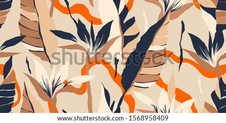 Modern exotic jungle plants illustration pattern. Creative collage contemporary floral seamless pattern. Fashionable template for design. #1568958409