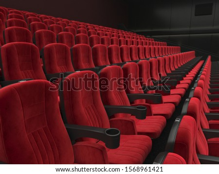 3D rendering modern cinema with subdued light and red chairs #1568961421