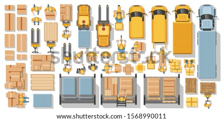 Vector set. Warehouse and delivery.  Machines, equipment, warehouse workers, suppliers, parcels. Top view. Logistics icons set with cargo symbols. Logistic infographics. View from above. Royalty-Free Stock Photo #1568990011