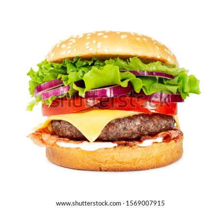 Classic cheeseburger with beef, cheese, bacon, tomato, onion and lettuce isolated on white background.  #1569007915