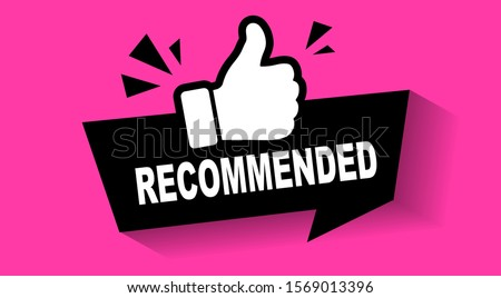 Recommend icon. Thumb up emblem. Pink purple color. Recommendation best seller sign. Good advice. Recommended sale label. Bestseller sticker. Vector illustration. #1569013396