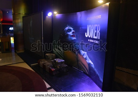 Bangkok, Thailand - October 12, 2019: Standee of The American psychological thriller Movie Joker stars by Joaquin Phoenix displays at the theater #1569032110