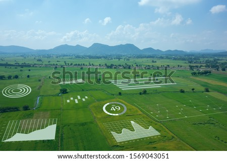 smart farm ,agriculture concept, farmer use data augmented mixed virtual reality integrate artificial intelligence combine deep, machine learning, digital twin, 5G, industry 4.0 technology to improve  Royalty-Free Stock Photo #1569043051
