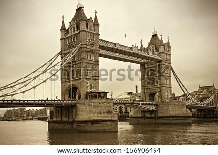 Vintage view of Tower Bridge, London