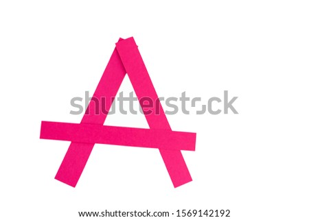 Letter A from parts of red paper.
