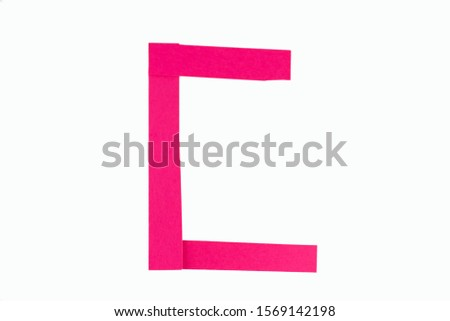 Letter C from parts of red paper.