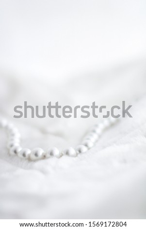Jewelry branding, elegance and sale concept - Winter holiday jewellery fashion, pearl necklace on fur background, glamour style present and chic gift for luxury jewelery brand shopping, banner design #1569172804