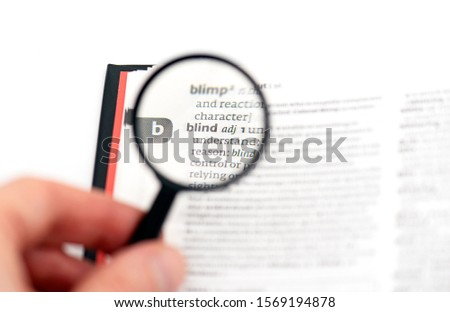 BLIND Word in Dictionary under Magnetic Glass, concept Picture