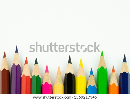 An image of set of color pencils. Royalty-Free Stock Photo #1569217345