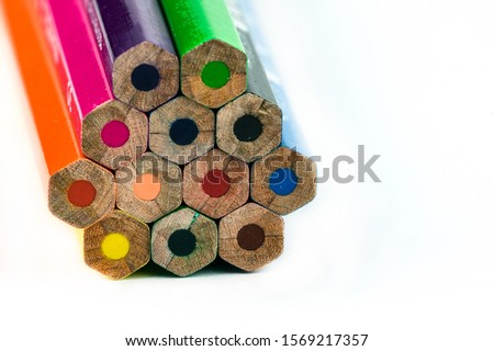 An image of set of color pencils. Royalty-Free Stock Photo #1569217357