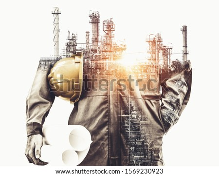 Future factory plant and energy industry concept in creative graphic design. Oil, gas and petrochemical refinery factory with double exposure arts showing next generation of power and energy business. #1569230923