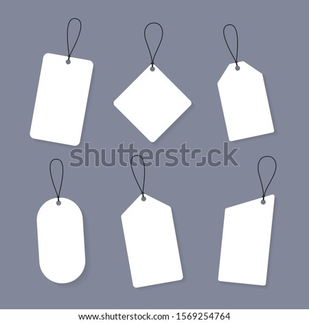 Set of empty sale or price tags in different shapes. Set of blank labels for discount, sale, price tags. Vector graphic design. #1569254764