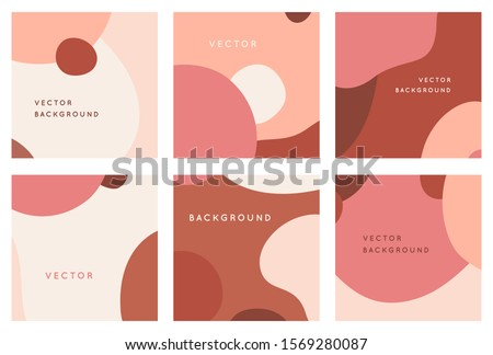 Vector set of abstract creative backgrounds in minimal trendy style with copy space for text - design templates for social media posts and stories - simple, stylish and minimal wallpaper designs for i Royalty-Free Stock Photo #1569280087