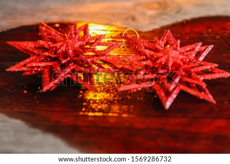 Christmas composition two stars.a sprig of spruce,red heart,selective focus,Fire heart symbol #1569286732