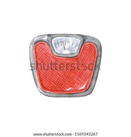 Red bathroom mechanical scales isolated on white background, top view. Watercolor clipart. Weight loss concept. Hand drawn illustration.