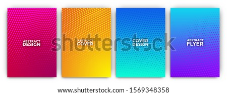 Gradient flyer background set with minimal halftone effects Royalty-Free Stock Photo #1569348358