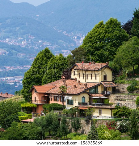 View of the upper city center of Bergamo, Lombardy, Italy #156935669