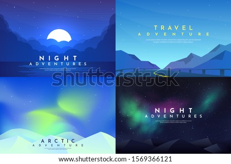 Vector abstract background set. Minimalist style. Flat concept. 4 landscapes collection. Clouds by the water, road between mountains, aurora in the Arctic, night boreal. Website template. UI design.  #1569366121