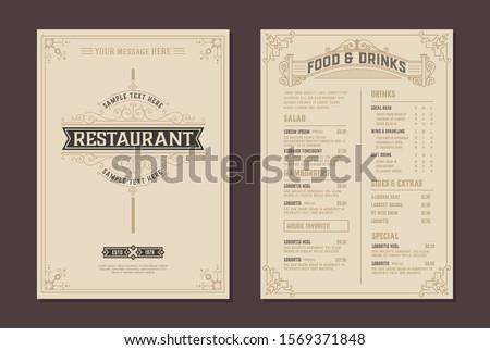 Menu design vector brochure template and Restaurant logo. Vector layered Royalty-Free Stock Photo #1569371848
