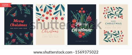 Set of Christmas and Happy New Year Floral Card templates. Trendy retro style. Vector design element. Royalty-Free Stock Photo #1569375022