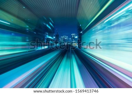 Blue and purple abstract high speed movement toward to the future of the city, concept.