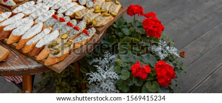 food photography background sandwiches with paste and vegetables on tray patio restaurant old European cuisine decoration picture