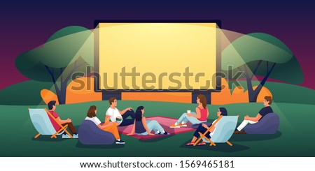 Outdoor evening cinema in summer park. Vector flat cartoon illustration. People watching movie in open-air cinema. Film festival, events and entertainment concept. Royalty-Free Stock Photo #1569465181