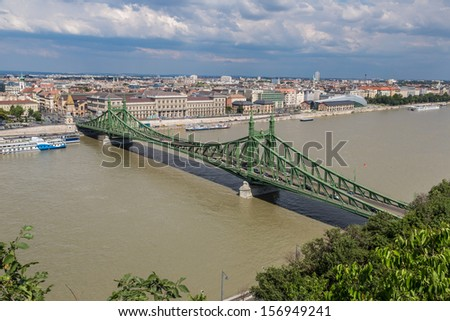 Liberty Bridge was built between 1894 and 1896 to the plans of Janos Feketehazy. #156949241