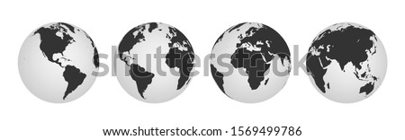 Earth globe icons. earth hemispheres with continents. vector world map set.