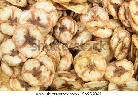 Sweet banana chips. use as snack food background #156952061