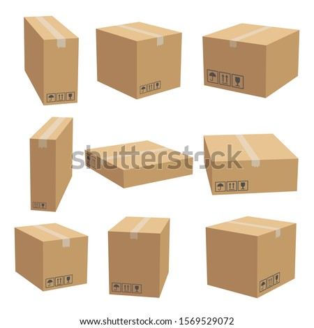 Set of cardboard box mockups. Isolated on white background. Vector carton packaging box images. Royalty-Free Stock Photo #1569529072