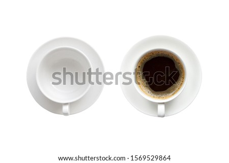 Top view of empty coffee cup and cup of hot espresso isolated on white background #1569529864