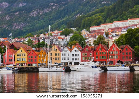 Famous Bryggen street in Bergen Norway - architecture background #156955271