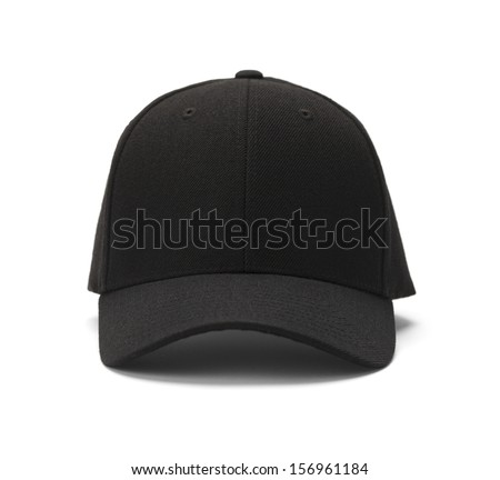 Front View of Black Cap Isolated on White Background. Royalty-Free Stock Photo #156961184