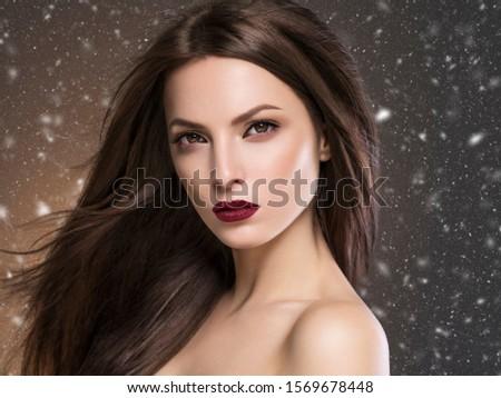 Winter beauty woman beautiful hair snowflakes  #1569678448