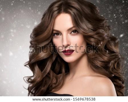 Winter beauty woman beautiful hair snowflakes  #1569678538