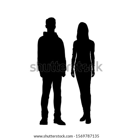 Vector silhouettes of  man and a woman, a couple of standing business people, black color isolated on white background Royalty-Free Stock Photo #1569787135