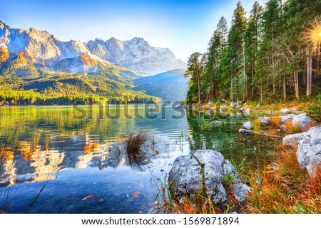 Faboulus autumn landscape of Eibsee Lake in front of Zugspitze summit under sunlight.Location: Eibsee lake, Garmisch-Partenkirchen, Bavarian alps, Germany, Europe #1569871894